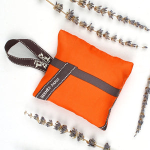 HERMÈS Vintage Bolduc Orange Lavender Sachet exclusively at VintageLuxeUp.com