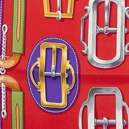 Authentic Hermes Vintage Bouclerie d'Attelage Silk Safe Scarf Charm exclusively at VintageLuxeUp.com