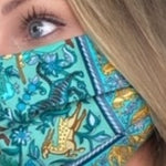 Load image into Gallery viewer, Authentic HERMÈS Vintage Chasse en Inde Silk Scarf Face Mask exclusively at VintageLuxeUp.com