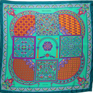 Authentic HERMES Vintage Ciels Byzantin Silk Scarf Face Mask exclusively at VintageLuxeUp.com