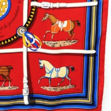 Load image into Gallery viewer, Authentic HERMES Vintage Couvertures et Tenues du Jour Silk Scarf Mask exclusively at VintageLuxeUp.com