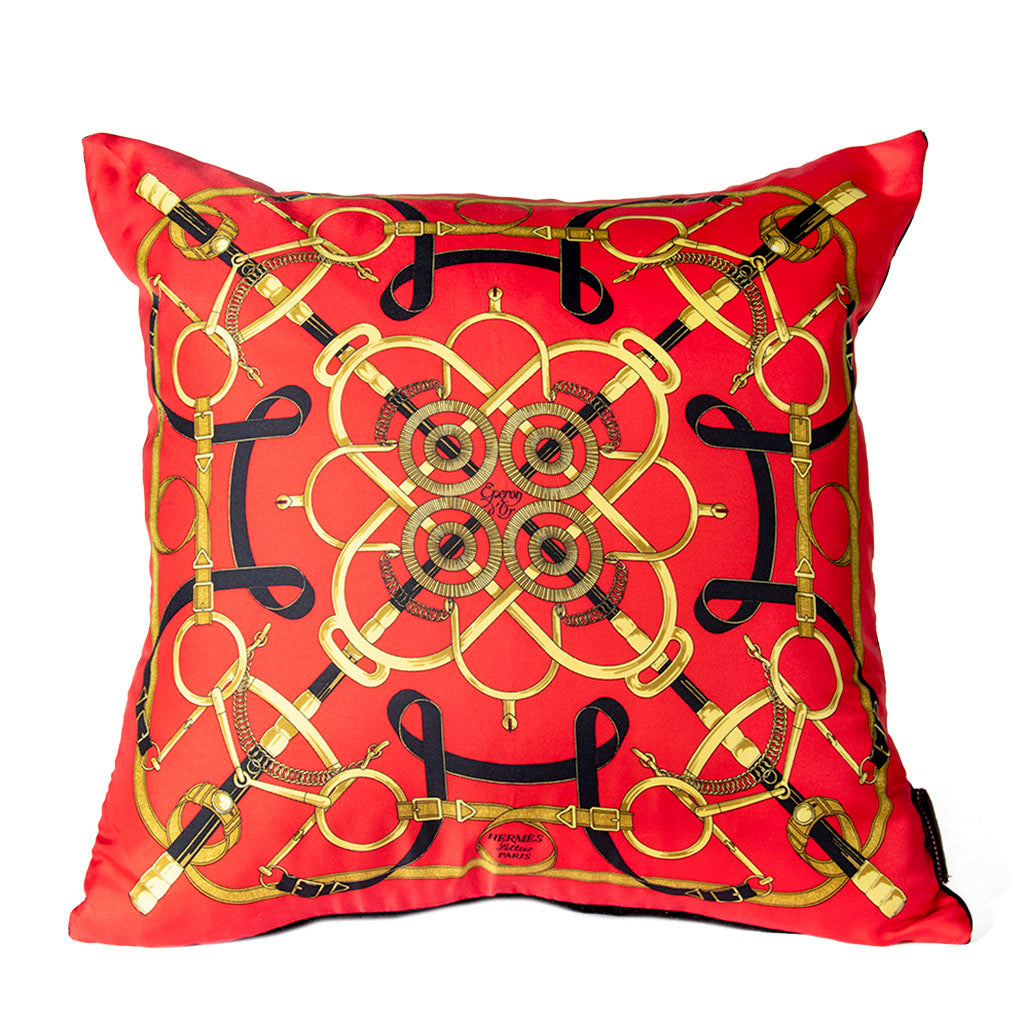 "Authentic HERMÈS Vintage Eperon d'Or Red Pillow Cover 17"" exclusively at VintageLuxeUp.com"