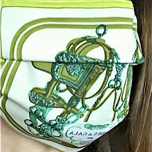 Load image into Gallery viewer, Authentic HERMES Vintage Brides de Gala Green Upcycled Silk Scarf PPE Protective Face Mask exclusively at vintageluxeup.com