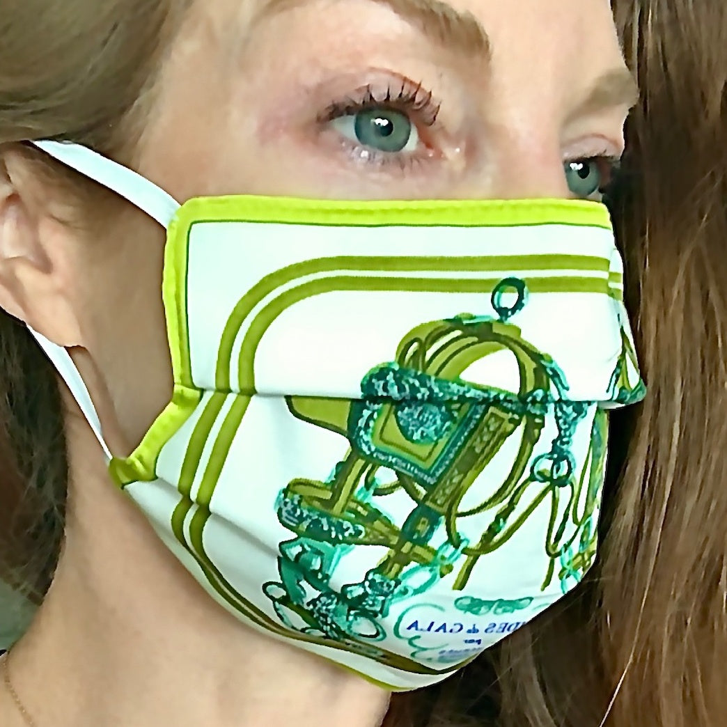 Authentic HERMES Vintage Brides de Gala Green Upcycled Silk Scarf PPE Protective Face Mask exclusively at vintageluxeup.com