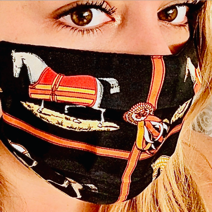 Authentic HERMES Vintage Les Petits Chevaux Black Upcycled Silk Scarf PPE Protective Face Mask exclusively at www.vintageluxeup.com