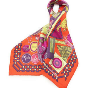 Authentic Vintage HERMES Les Trophees Silk Scarf Face Mask exclusively at VintageLuxeUp.com