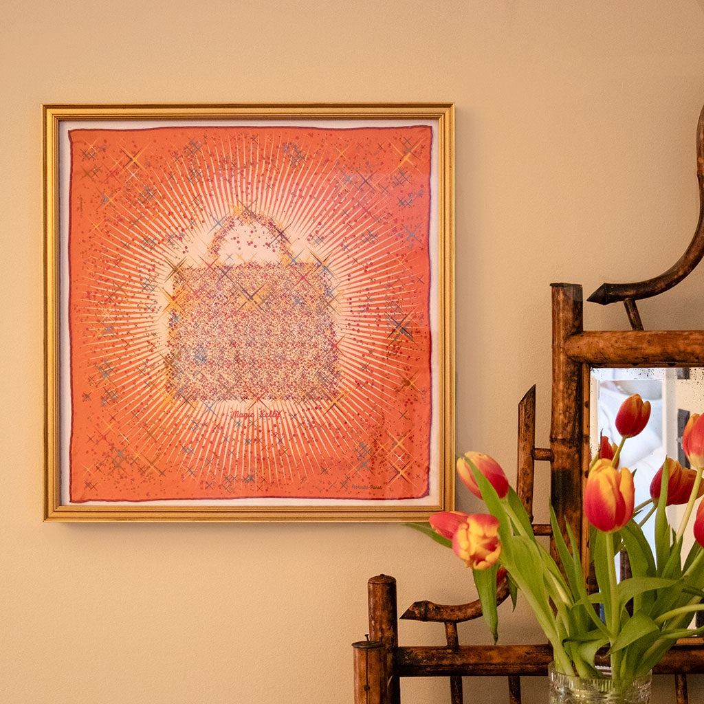 Authentic Vintage HERMÈS Vintage Magic Kelly Capucine Silk Pocket Square Framed Art exclusively at VintageLuxeUp.com