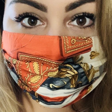 Load image into Gallery viewer, Authentic Hermes Vintage Napoleon Upcycled Silk Scarf PPE Protective Face Mask exclusively at VintageLuxeUp.com