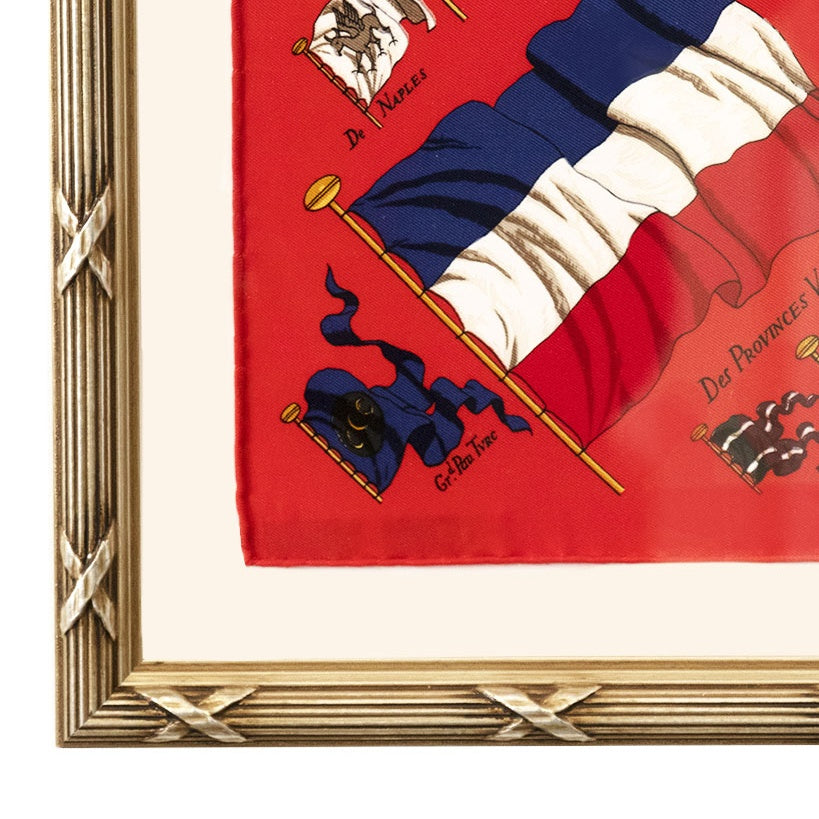 Authentic HERMÈS Vintage Pavois Silk Pocket Square Framed Art exclusively at VintageLuxeUp.com