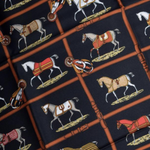 Load image into Gallery viewer, Authentic HERMES Vintage Les Petits Chevaux Black Upcycled Silk Scarf PPE Protective Face Mask exclusively at www.vintageluxeup.com