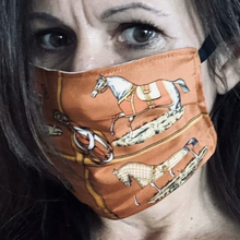 Load image into Gallery viewer, Authentic HERMES Vintage Les Petits Chevaux Orange Upcycled Silk Scarf PPE Protective  Face Mask exclusively at VintageLuxeUp.com