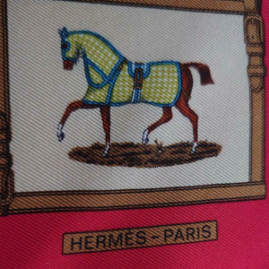 HERMÈS Vintage Les Petits Chevaux Ivory Silk Scarf Mask exclusively at VintageLuxeUp.com