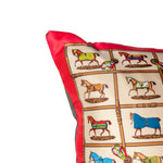 "Load image into Gallery viewer, Authentic HERMÈS Vintage Petits Chevaux Pillow Cover 17"" exclusively at VintageLuxeUp.com"