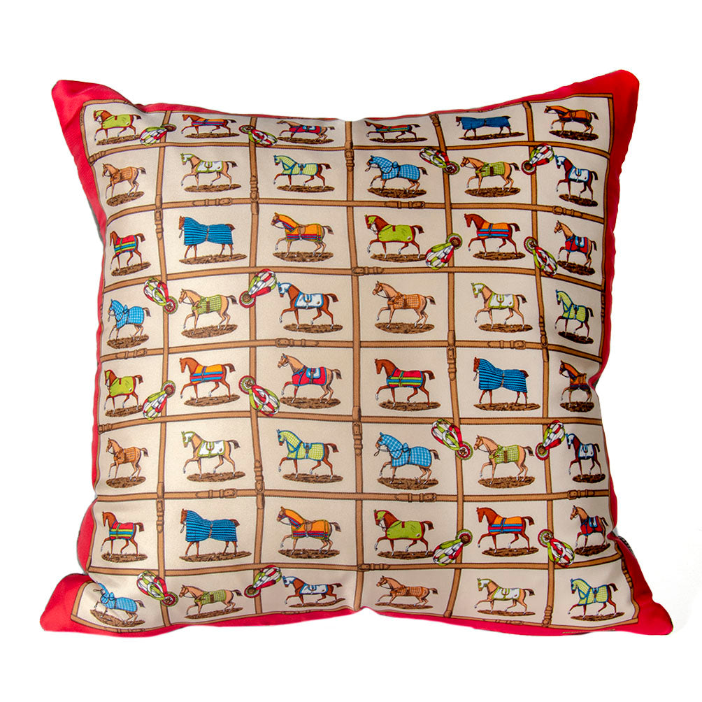 "Authentic HERMÈS Vintage Petits Chevaux Pillow Cover 17"" exclusively at VintageLuxeUp.com"