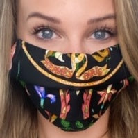 Authentic HERMES Vintage Pierres d'Orient  et d'Occident Silk Scarf Face Mask exclusively at VintageLuxeUp.com