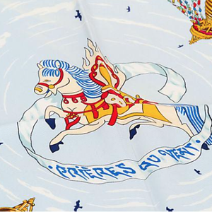 Authentic HERMES Vintage Prieres aux Vents Silk Scarf Face Mask exclusively at VintageLuxeUp.com