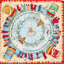 Load image into Gallery viewer, Authentic HERMES Vintage Prieres aux Vents Silk Scarf Face Mask exclusively at VintageLuxeUp.com