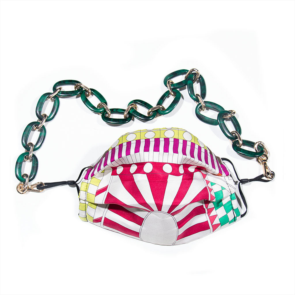 Authentic HERMES Vintage Promenade au Faubourg Silk Scarf Face Mask exclusively at VintageLuxeUp.com