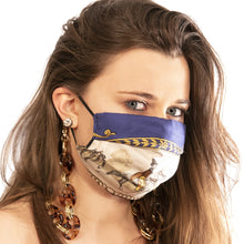 Load image into Gallery viewer, Authentic HERMES Vintage Promenades de Longchamps Blue Silk Scarf Face Mask exclusively at VintageLuxeUp.com