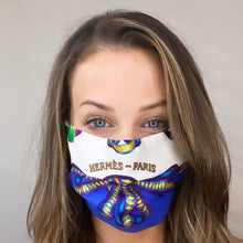 Load image into Gallery viewer, Authentic HERMES Vintage Les Rubans du Cheval Silk Scarf Face Mask exclusively at VintageLuxeUp.com