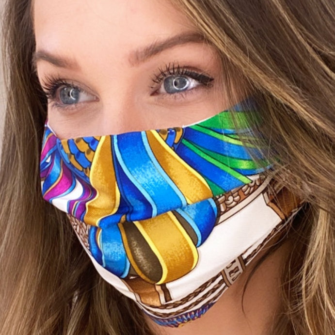 Authentic HERMES Vintage Les Rubans du Cheval Silk Scarf Face Mask exclusively at VintageLuxeUp.com