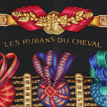 Load image into Gallery viewer, Authentic HERMES Vintage les Rubans du Cheval Black Silk Scarf Face Mask exclusively at VintageLuxeUp.com