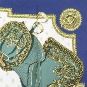 Authentic HERMES Vintage Selles a Housse Silk Scarf Face Mask exclusively at VintageLuxeUp.com