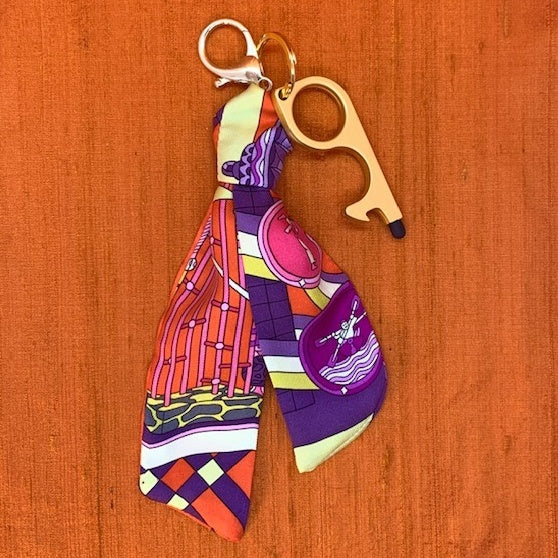 Authentic Vintage HERMES Les Trophees Silk Safe Scarf Charm exclusively at VintageLuxeUp.com