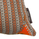 "Load image into Gallery viewer, Authentic HERMÈS Vintage H Logo with Zipper Pillow Cover 17"" exclusively at VintageLuxeUp.com"