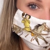 Authentic HERMES Vintage l'Hiver Silk Scarf Face Mask exclusively at VintageLuxeUp.com