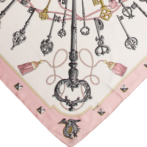Authentic HERMES Vintage Les Clefs Silk Scarf Face Mask exclusively at VintageLuxeUp.com