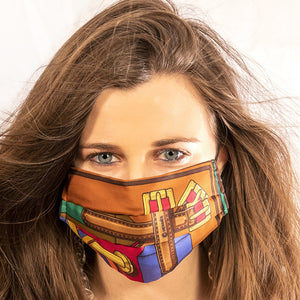Authentic HERMES Vintage Les Sangles Burgundy Silk Scarf Face Mask exclusively at VintageLuxeUp.com