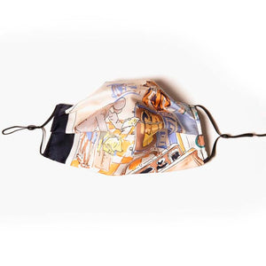 Authentic LORO PIANA Vintage Voyages Silk Scarf Face Mask exclusively at VintageLuxeUp.com