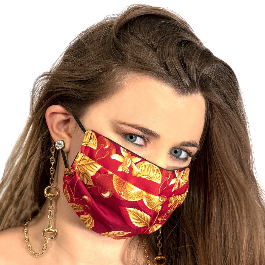 LVMH Grand Marnier Vintage Cerise Scarf Face Mask exclusively at VintageLuxeUp.com