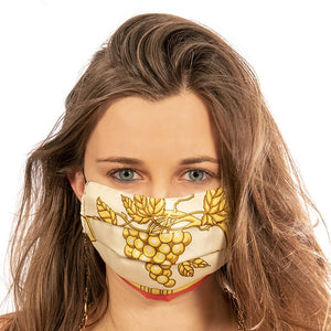 LVMH Moet et Chandon Authentic Vintage Crown Silk Scarf Face Mask exclusively at VintageLuxeUp.com