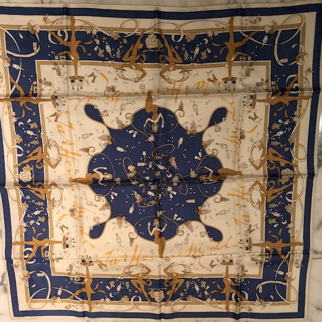 LVMH Moet et Chandon Authentic Vintage Champagne Silk Scarf Face Mask exclusively at VintageLuxeUp.com