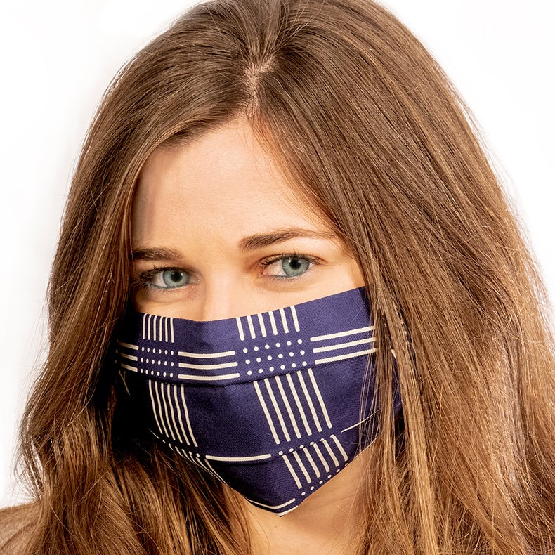 Authentic LORO PIANA Vintage Check Silk Scarf Face Mask exclusively at VintageLuxeUp.com