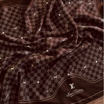 Load image into Gallery viewer, Authentic Vintage LOUIS VUITTON Damier Upcycled Silk Scarf Face Mask exclusively at VintageLuxeUp.com
