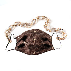 Authentic Vintage LOUIS VUITTON Damier Upcycled Silk Scarf Face Mask exclusively at VintageLuxeUp.com
