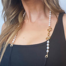 Load image into Gallery viewer, Horse Bit Gold Plated & Freshwater Cultured Pearl Mask Chain exclusively at VintageLuxeUp.com