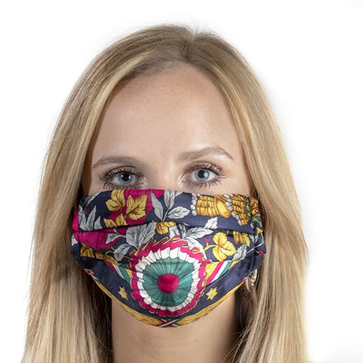Authentic MOSCHINO Vintage Matador Silk Scarf Face Mask exclusively at VintageLuxeUp.com