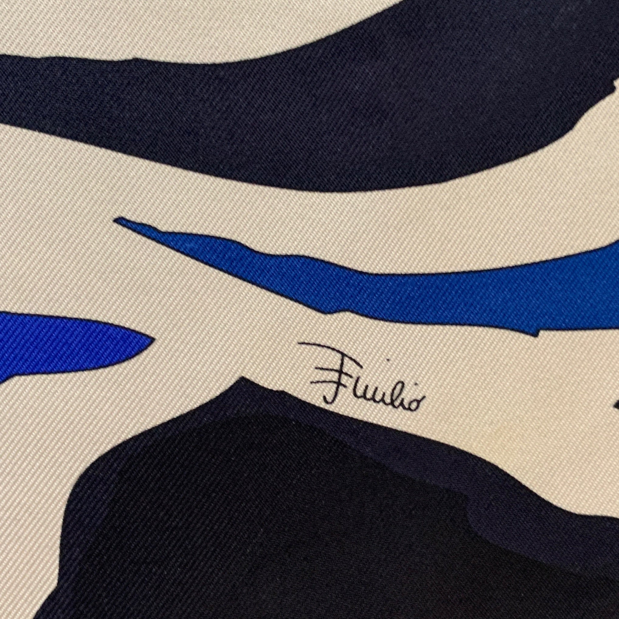 Authentic EMILIO PUCCI Vintage Abstract Blues Scarf Face Mask exclusively at VintageLuxeUp.com