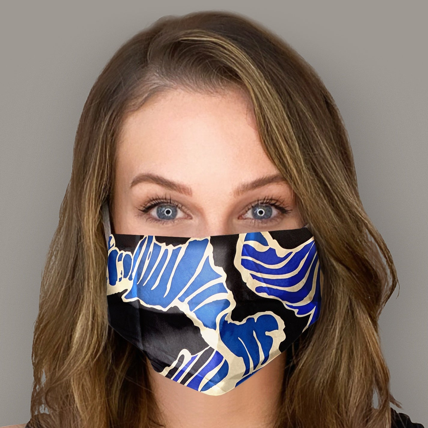 EMILIO PUCCI Vintage Abstract Blues Scarf Face Mask