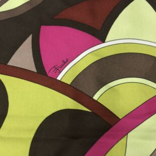 Authentic EMILIO PUCCI Vintage Abstract Chartreuse & Purple Scarf Face Mask exclusively at VintageLuxeUp.com
