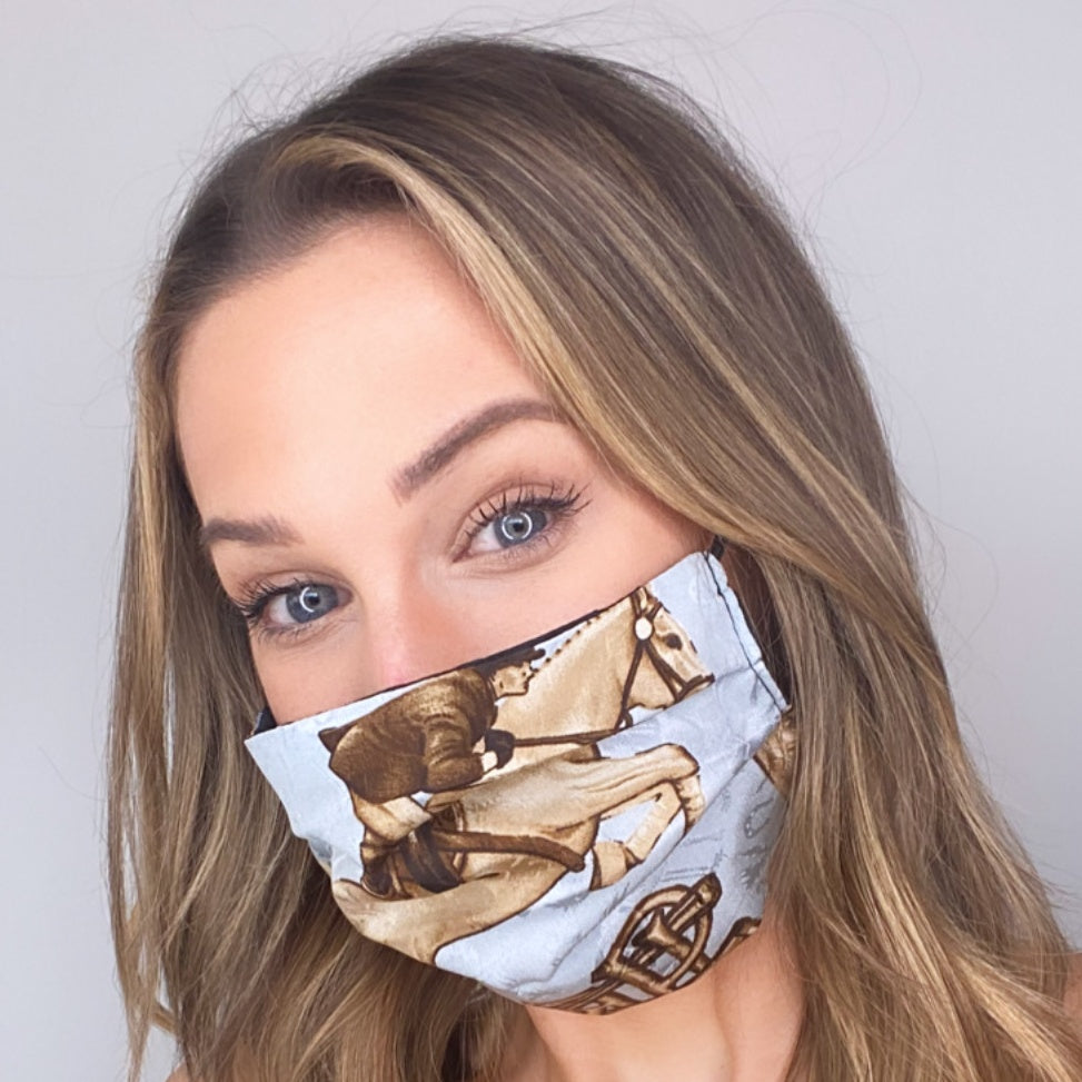 Authentic RALPH LAUREN Vintage Silk Scarf Face Mask exclusively at VintageLuxeUp.com