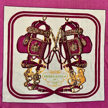 Load image into Gallery viewer, Authentic HERMES Vintage Brides de Gala Purple Upcycled Silk Scarf PPE Protective Face Mask exclusively at vintageluxeup.com