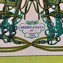 Load image into Gallery viewer, Hermes Vintage Brides de Gala Green Silk Scarf Mask exclusively at vintageluxeup.com