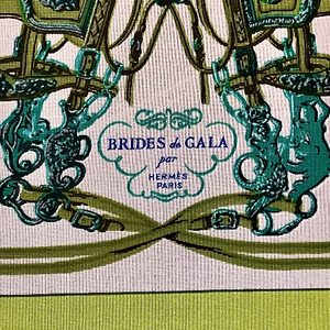 Hermes Vintage Brides de Gala Green Silk Scarf Mask exclusively at vintageluxeup.com