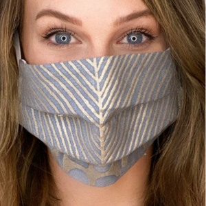 Vintage Fortuny Ashanti Slate Blue & Silvery Gold Printed Cotton Upcycled Face Mask exclusively at www.vintageluxeup.com