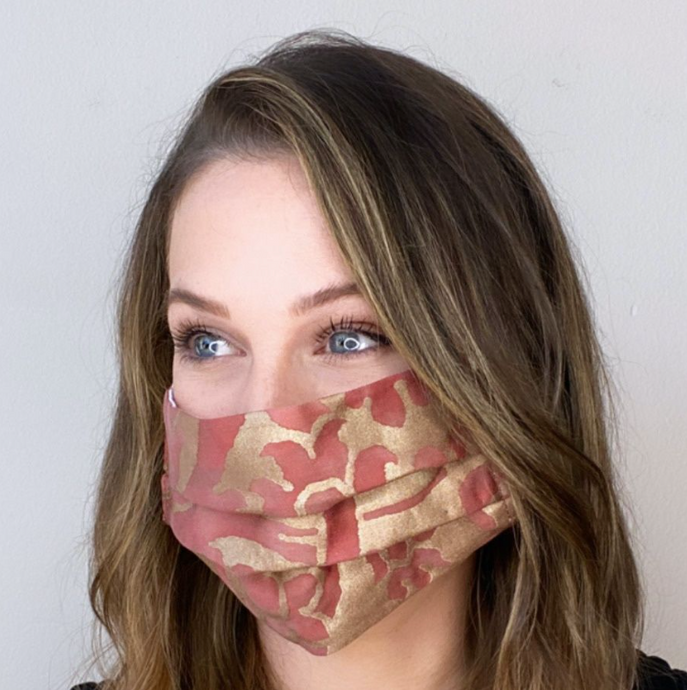 Vintage Fortuny Barberini Brillian Red & Gold Printed Cotton Upcycled Face Mask exclusively at www.vintageluxeup.com